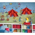 Big Top Circus Chair Rail Prepasted Mural 6' X 10.5' - Ultra-Strippable