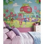 Strawberry Shortcake Chair Rail Prepasted Mural 6' X 10.5' - Ultra-Strippable