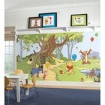 Pooh & Friends Chair Rail Prepasted Mural 6' X 10.5' - Ultra-Strippable