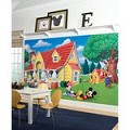 Mickey & Friends Chair Rail Prepasted Mural 6' X 10.5' - Ultra-Strippable