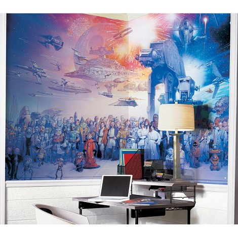 Star Wars Saga Chair Rail Prepasted Mural 6' X 10.5' - Ultra-Strippable  - Us & Canada Only