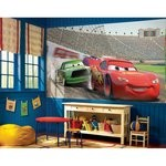 Cars Chair Rail Prepasted Mural 6' X 10.5' - Ultra-Strippable