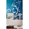 Blue Scroll Chair Rail Prepasted Mural 6' X 10.5' - Ultra-Strippable