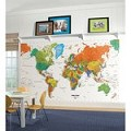 World Map Chair Rail Prepasted Mural 6' X 10.5' - Ultra-Strippable