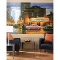 Evening At The Parmount Chair Rail Prepasted Mural 6' X 10.5' - Ultra-Strippable