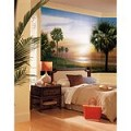 Palm Tree Chair Rail Prepasted Mural 6' X 10.5' - Ultra-Strippable
