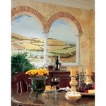 Tuscan View Chair Rail Prepasted Mural 6' X 10.5' - Ultra-Strippable