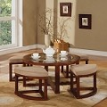 00406 Patia 5-Piece Pack Coffee table and Ottomans, Cherry Finish