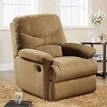 00634 Light Brown Finish Microfiber Glider Recliner