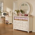 00750F Crowley Dresser & Mirror, Cream And Peach Finish