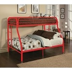 02053 Red Finish Twin/Full Bunk Bed