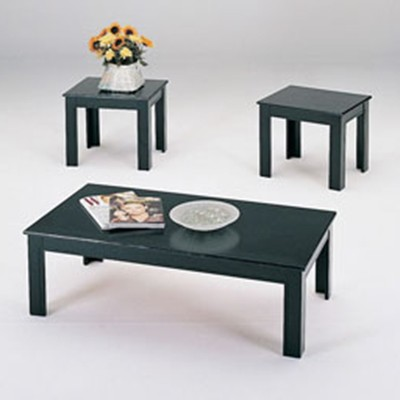 02168 Black Finish Coffee/End 3PC Table Set