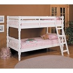 02298 White Finish Twin/ Twin Conventible Wooden Bunk Bed