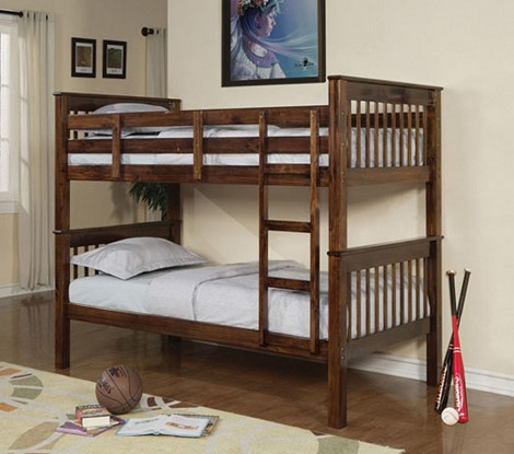 02415 Walnut Finish Twin/Twin Bunk Bed