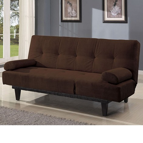 05855 Cybil Brown Microfiber Adjustable Sofa w/Pillows Set