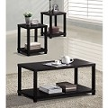 Wei Espresso Coffee Table with Shelf Base