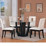 Bethany Espresso Finish Glass Top Dining Table Set