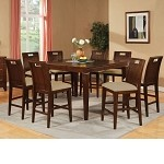 Donovan Walnut Finish Counter Height Dining Table Set