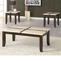 16558 Faux Marble Top 3pc PACK Coffee/End Table
