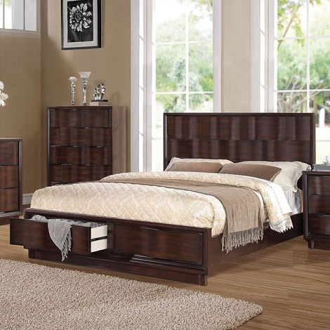 Travell Walnut Finish Bed