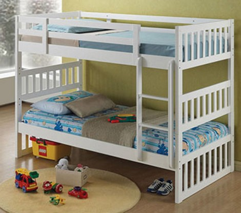 Cutie White Finish Twin/Twin Bunk Bed Set