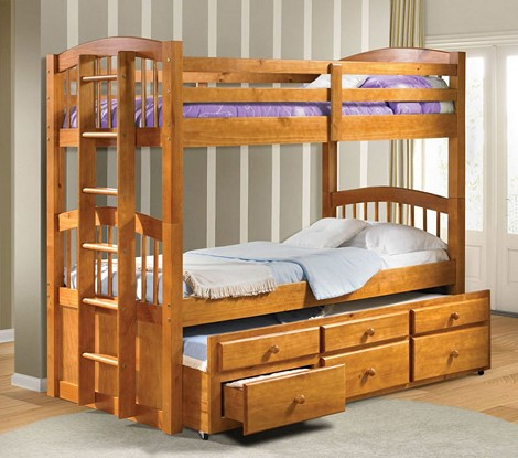 home kids bedroom bunk beds micah honey oak finish twin twin