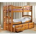 Micah Honey Oak Finish Twin/Twin Bunk Bed w/Trundle Set