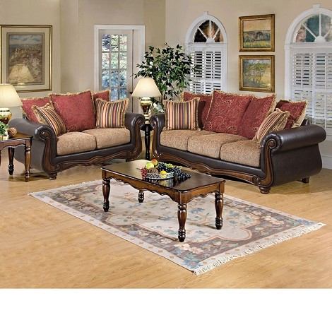 50315 Olysseus Brown Floral Sofa Set