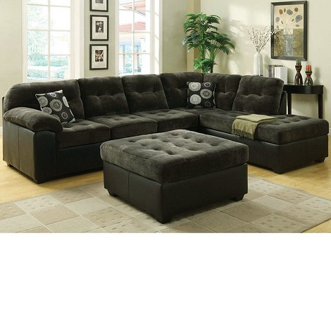 50530 Layce Dark Green Morgan Fabric Sectional Sofa Set