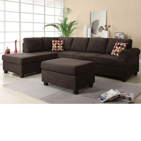 50540 Donovan Butler Onyx Morgan Fabric Reversible Chaise Sectional Sofa Set