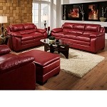 50595 Jeremy Cardinal Red Bonded Leather Match Sofa Set