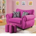 Lucy Pink Microfiber Youth Chair And Ottoman 59006-7