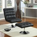 Lucita Black PU 2pc PACK Chair & Ottoman Set
