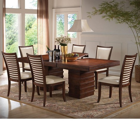 Pacifica Cherry Finish Dining Table Set