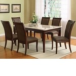 Britney White Marble Top Dining Table Set