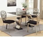 Misu Chrome Finish & Black Glass Top Dining Table Set