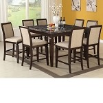 Agatha Espresso Finish Black Marble Top Counter Height Dining Set