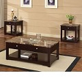 Jas Espresso Finish Coffee/End Table w/Faux Marble Lift Top Set