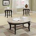 Galiana Brown Marble Top Coffee/End Table Set