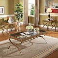 Quintin Gold Finish 3pc PACK Coffee/End Table Set