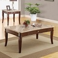 Britney White Marble Top Coffee/End Table Set