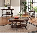 Bravo Cherry Finish 3pc Coffee/End Table Set