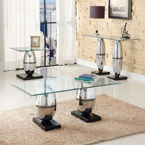Abel Chrome Finish & Glass Top 3pc Coffee/End Table Set