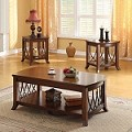 Aden Tobacco Finish 3pc PACK Coffee/End Table Set
