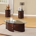 Dajon Espresso Finish 3pc Glass Top Coffee/End Table Set