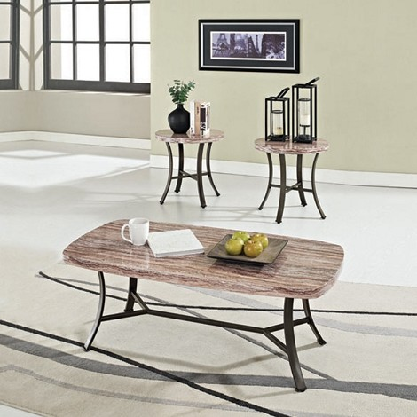 80250 Daisy White Faux Marble Top 3pc Pack Occasional Table Set