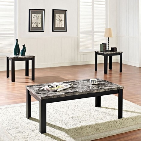 80320 Agatha Black Faux Marble Top 3pc Pack Occasional Table Set