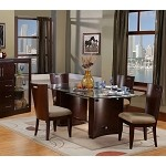 Embarcadero Merlot Dining Table With Glass Top