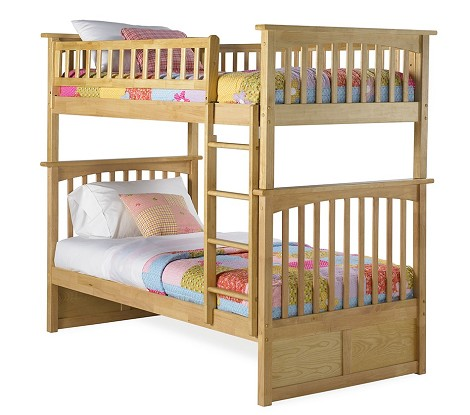 Columbia Bunk Bed Twin Over Twin in a Natural Maple Finish