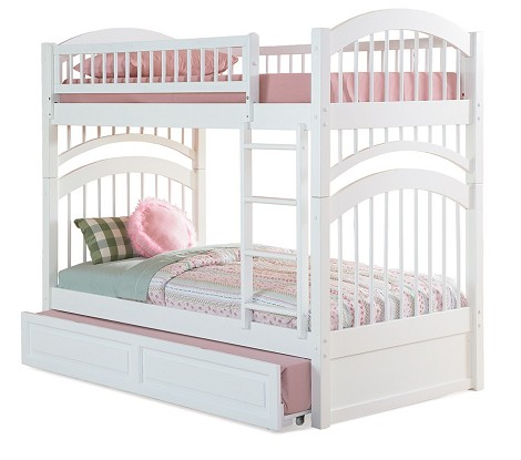 Windsor Bunk Bed Twin Over Twin in White Finish